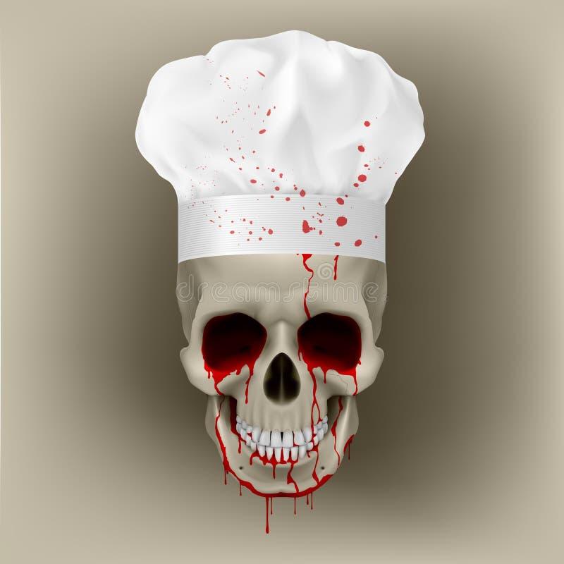Cuoco unico sanguinante della protezione del cranio. royalty illustrazione gratis
