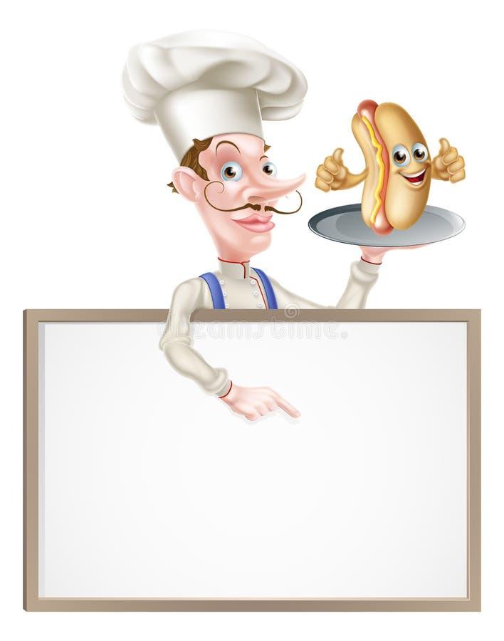 Cuoco unico Signboard del fumetto dell'hot dog illustrazione di stock