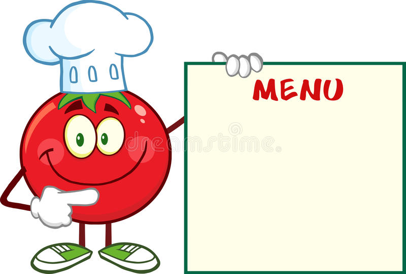 Cuoco unico sorridente Cartoon Mascot Character del pomodoro che indica il bordo del menu illustrazione di stock