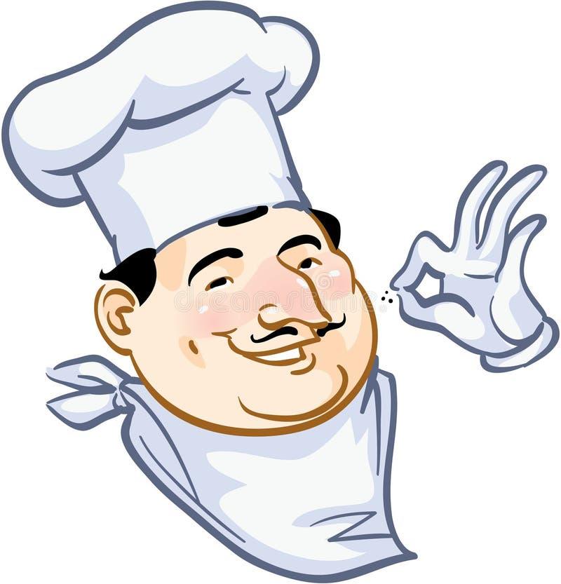 Cuoco unico sorridente della pizza illustrazione di stock