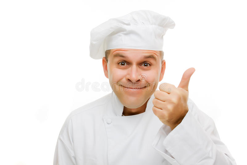 Cuoco unico sorridente isolato su bianco fotografia stock libera da diritti