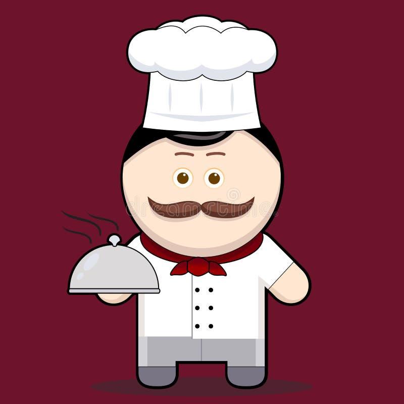 Cuoco unico sveglio dell'illustrazione del fumetto illustrazione di stock