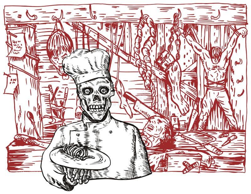 Cuoco unico in un Dungeon royalty illustrazione gratis