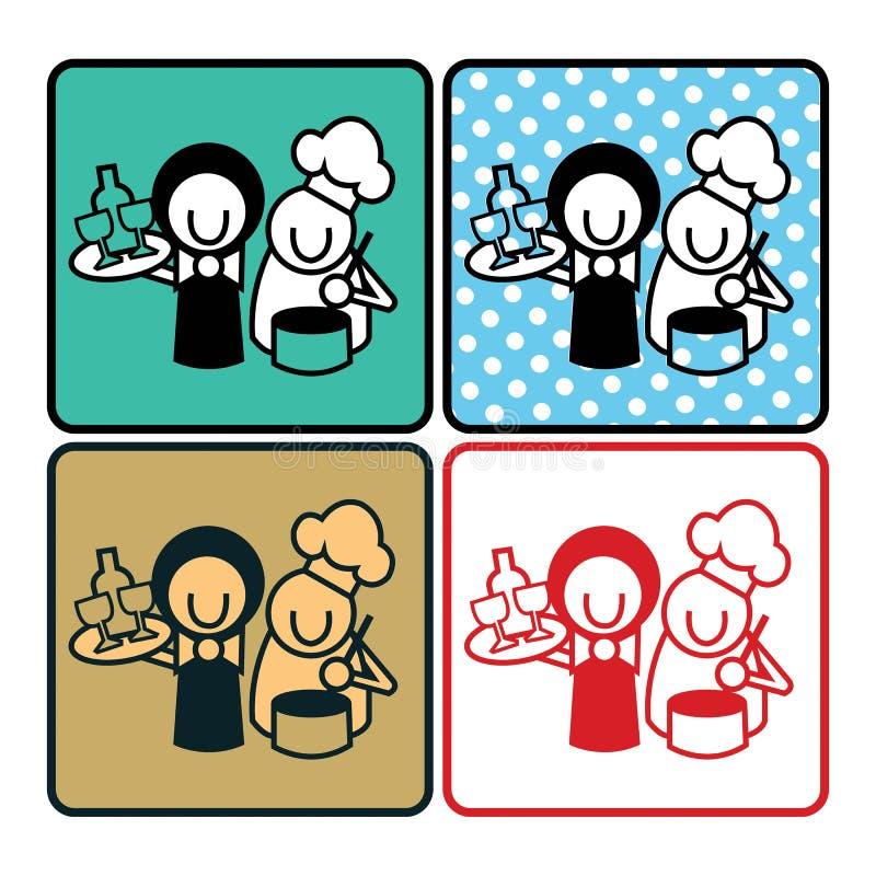 Cuoco unico And Waiter Icon royalty illustrazione gratis