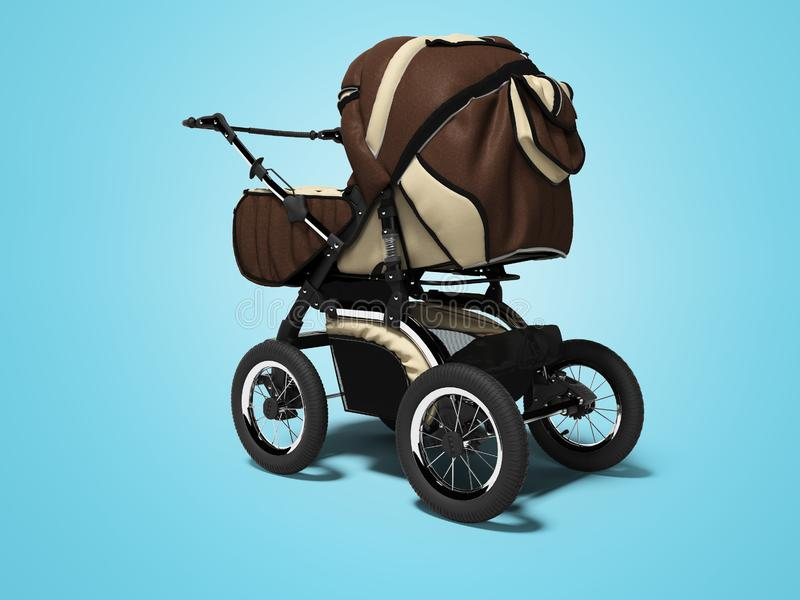 Cuoio moderno di marrone del passeggiatore di concetto con le inserzioni bianche 3d rendere su fondo blu con ombra royalty illustrazione gratis
