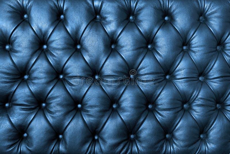Cuoio tuffted blu con i bottoni immagini stock libere da diritti
