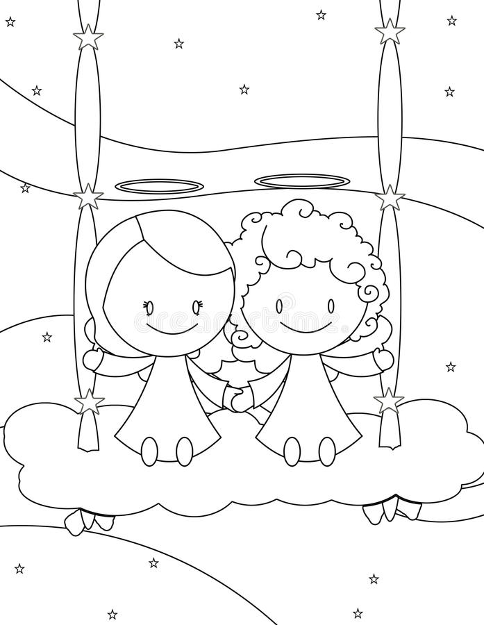 Cuople of angels on a cloud swing royalty free stock photography
