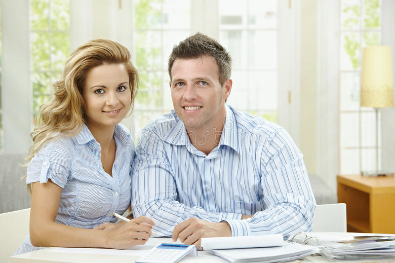 Cuople planning at home stock photo