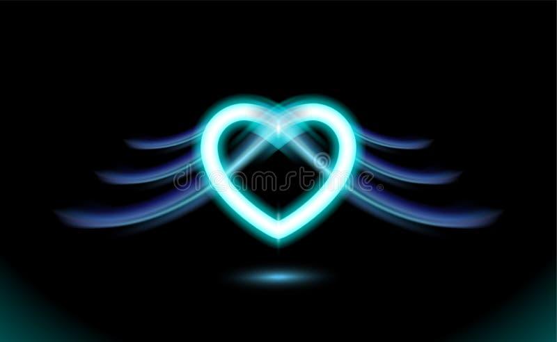 Cuore al neon astratto con le ali, anime gotico, effetto radiante di incandescenza blu di amore per il giorno di biglietti di S.  royalty illustrazione gratis