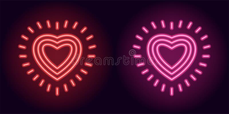 Cuore al neon rosso e rosa con i raggi illustrazione vettoriale