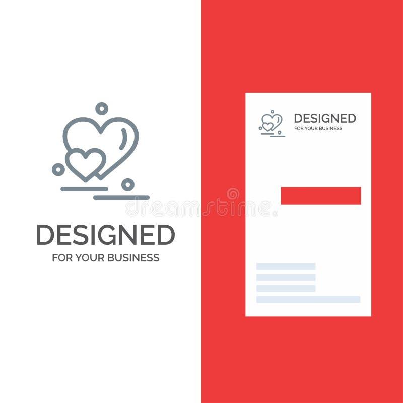 Cuore, amore, coppie, Valentine Greetings Grey Logo Design e modello del biglietto da visita royalty illustrazione gratis
