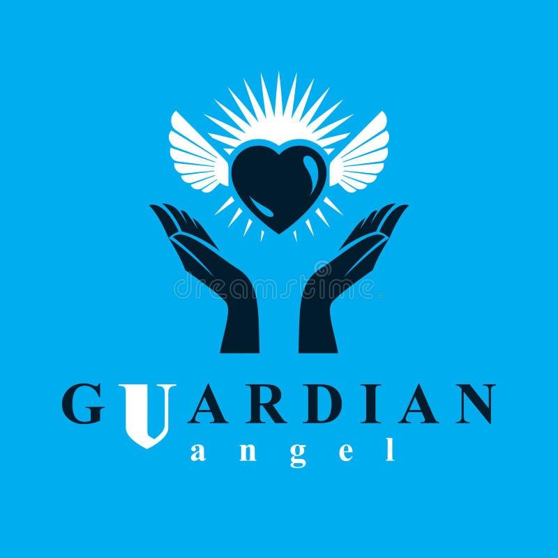Cuore amoroso in mani umane, danti la metafora dell'aiuto Spirito Santo gr illustrazione vettoriale