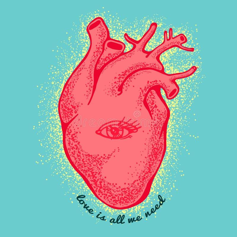 Cuore anatomico rosa con l'occhio su fondo blu l'amore del tagline è tutto che abbiamo bisogno di Scheda di giorno dei biglietti  illustrazione di stock