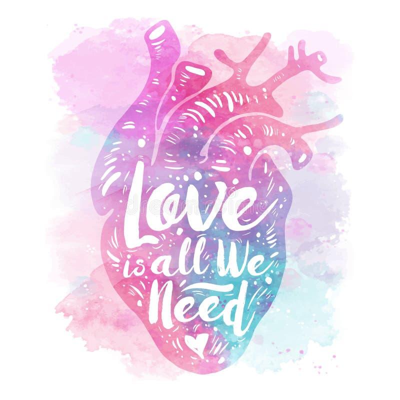 Cuore anatomico rosa sul fondo dell'acquerello l'amore del tagline è tutto che abbiamo bisogno di Scheda di giorno dei biglietti  royalty illustrazione gratis