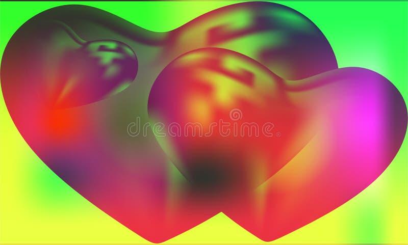 Cuore astratto di vettore con fondo ondulato protetto multicolore con effetto della luce e struttura, illustrazione di vettore, fotografie stock