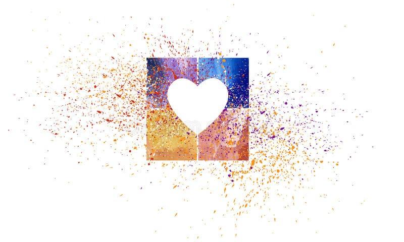 Cuore astratto grafico di amore con i quadrati variopinti royalty illustrazione gratis