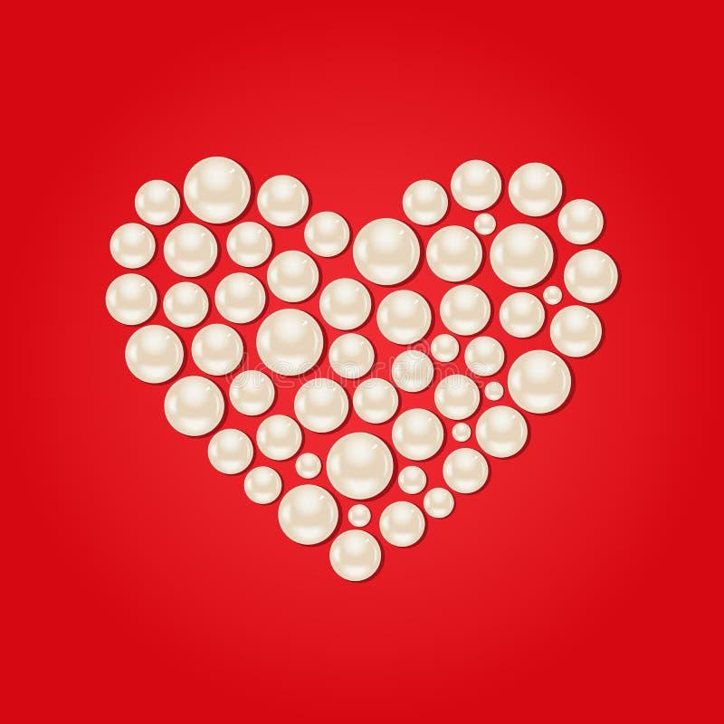 Cuore bianco della perla sul fondo rosso di giorno di Valentaine royalty illustrazione gratis