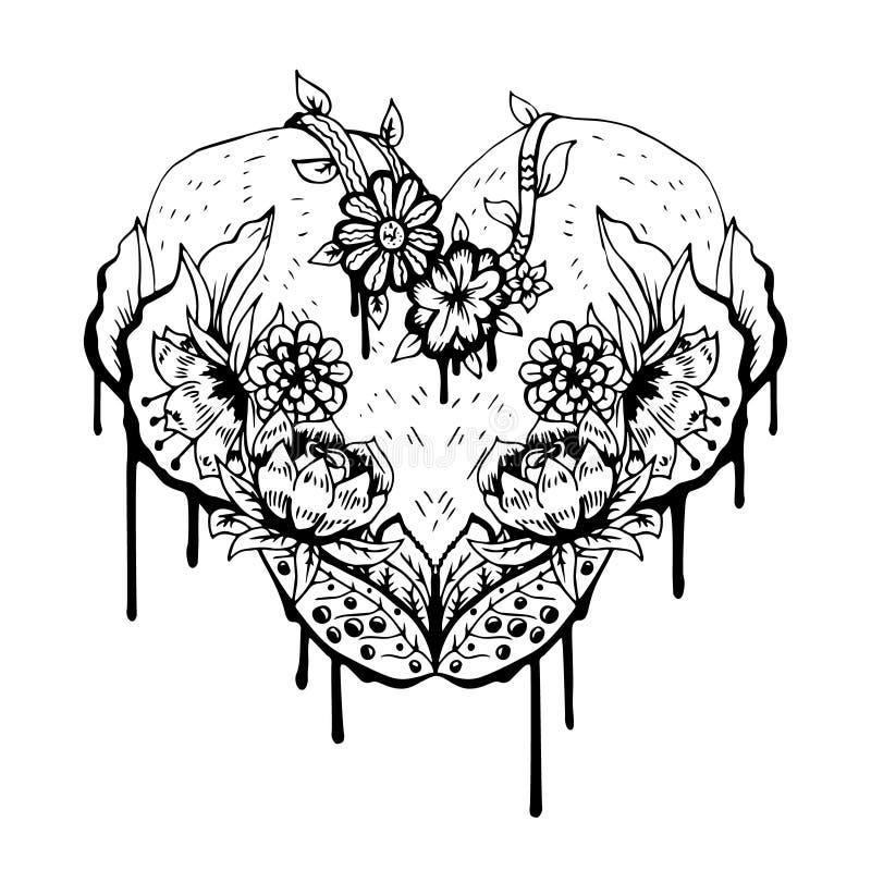 Cuore in bianco e nero astratto Illustrazione di vettore illustrazione vettoriale