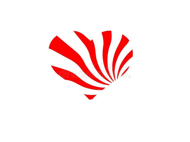 Cuore bianco rosso isolato su fondo bianco illustrazione vettoriale