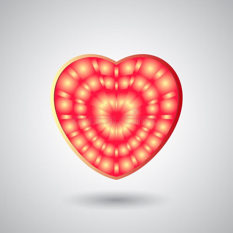 Cuore brillante luminoso isolato per il San Valentino illustrazione di stock