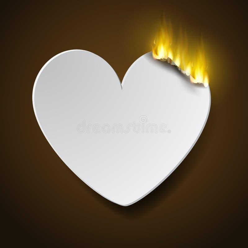 Cuore bruciante del paperc illustrazione di stock