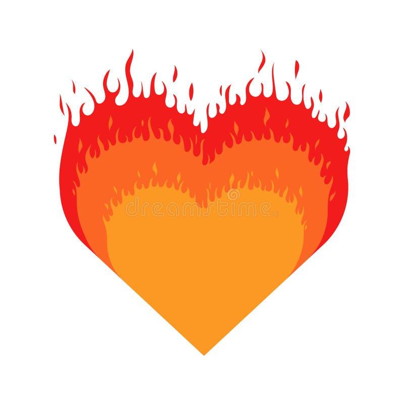 Cuore Burning Il cuore con fuoco ha isolato l'icona su fondo bianco illustrazione vettoriale