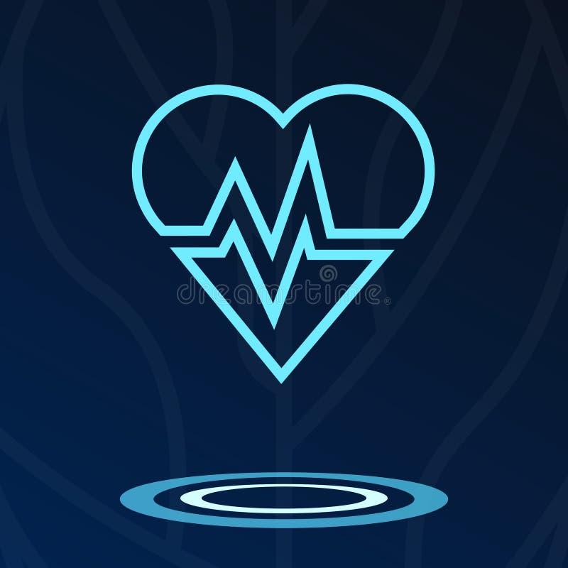 Cuore, cardio logotype dell'ologramma del segno illustrazione di stock