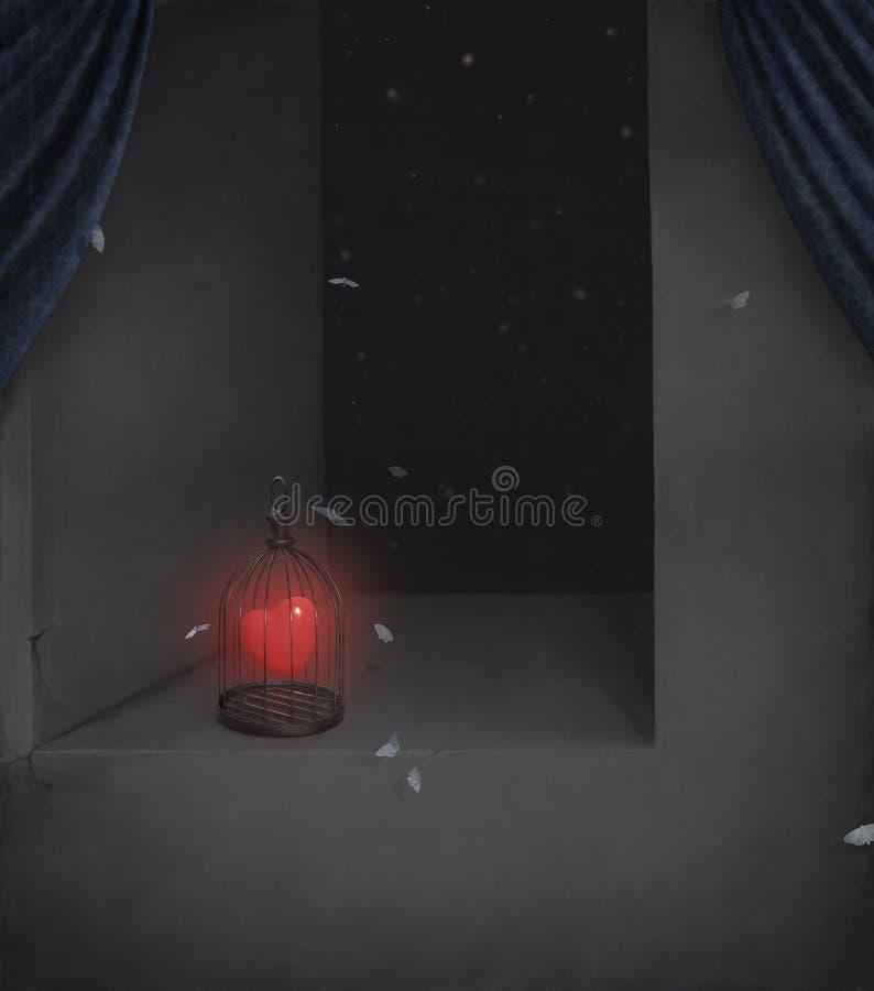 Cuore, chiuso a chiave in una gabbia. royalty illustrazione gratis