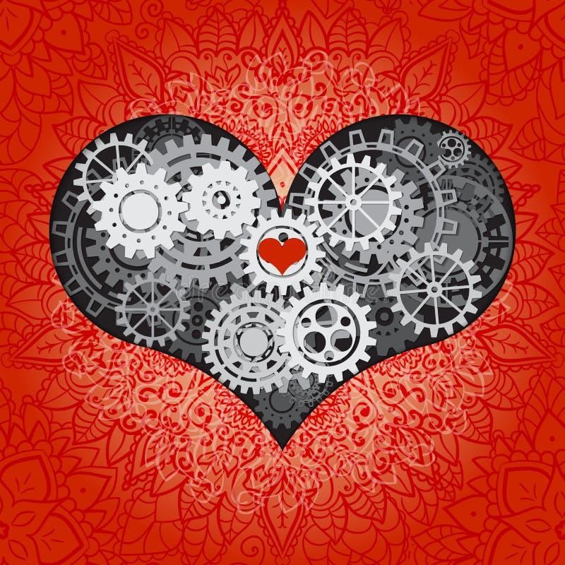 Cuore come meccanismo fatto dei denti e degli ingranaggi Illustrazione di vettore del cuore dello steampunk Carta di giorno di bi illustrazione di stock