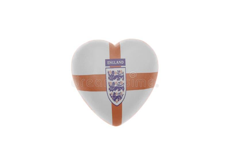 Cuore con calcio nazionale Team Flag dell'Inghilterra di calcio di tre leoni fotografie stock libere da diritti