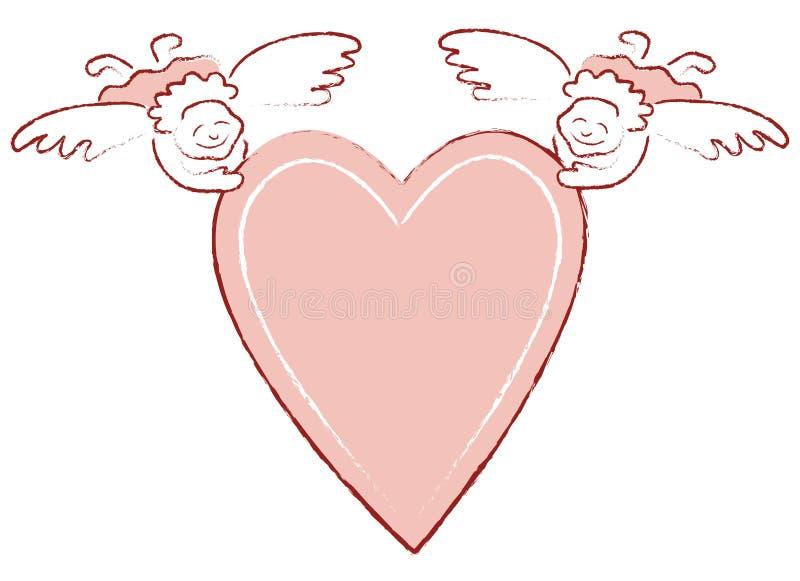 Cuore con gli angeli immagini stock libere da diritti