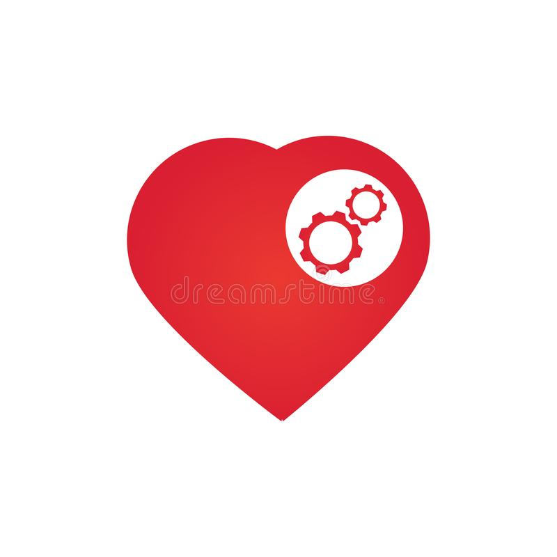 cuore con gli ingranaggi, illustrazione di vettore isolata su fondo bianco royalty illustrazione gratis