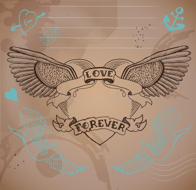 Cuore con i fiori, illustrati del tatuaggio di stile della vecchia scuola del biglietto di S. Valentino illustrazione vettoriale