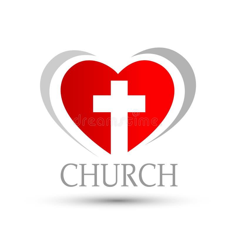 Cuore con il simbolo trasversale dell'icona di logo della chiesa di amore su fondo bianco illustrazione vettoriale