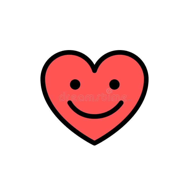 Cuore con il sorriso sul fronte Linea sveglia icona di scarabocchio Illustrazione sorridente di vettore di simbolo di amore del c illustrazione vettoriale
