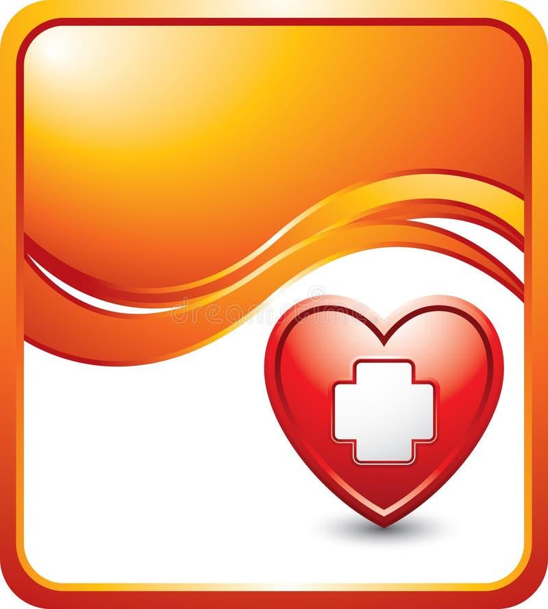 Cuore con l'icona del pronto soccorso sull'annuncio arancione dell'onda royalty illustrazione gratis