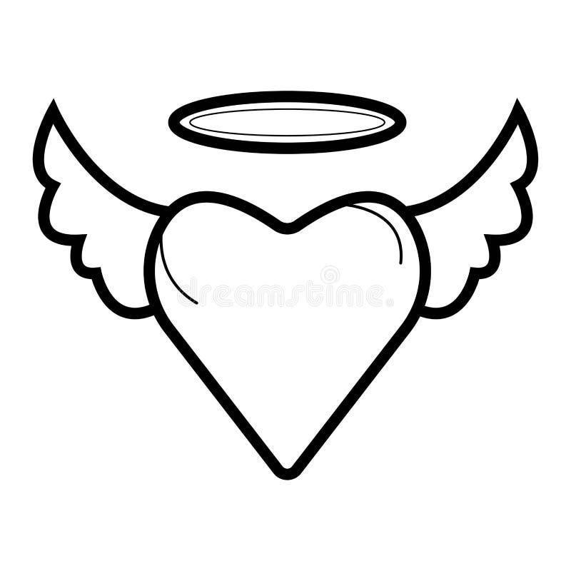Cuore con l'icona delle ali illustrazione di stock