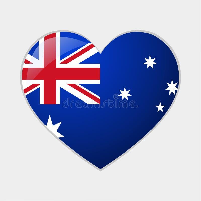 Cuore con l'illustrazione australiana di simbolo di vettore delle bandiere illustrazione di stock