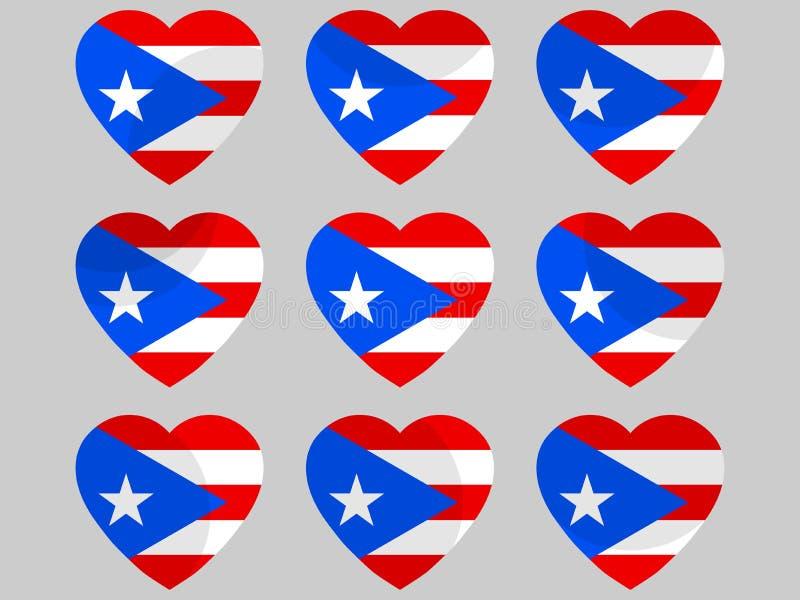 Cuore con la bandiera del Porto Rico Amo il Porto Rico Vettore illustrazione di stock