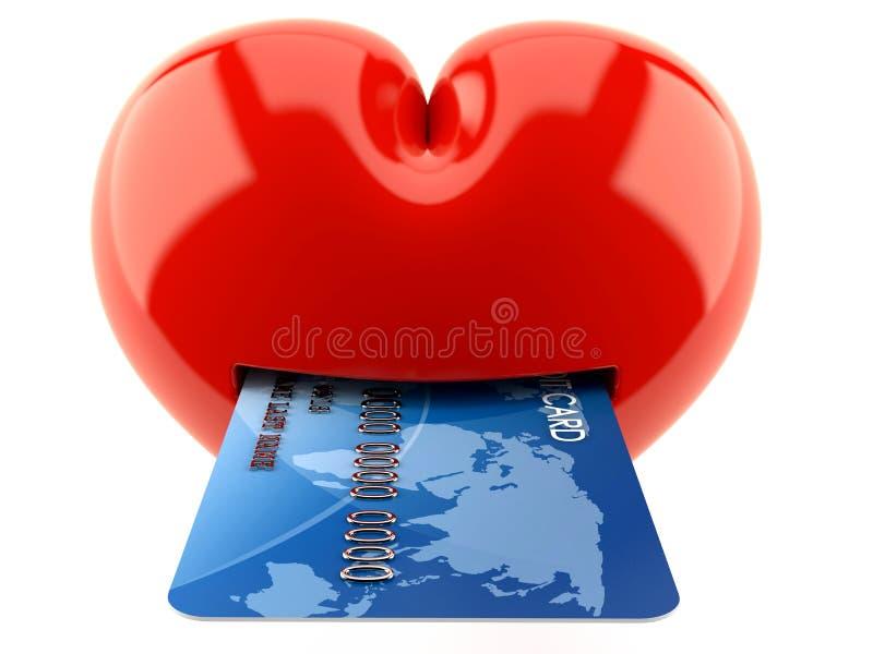 Cuore con la carta di credito illustrazione vettoriale