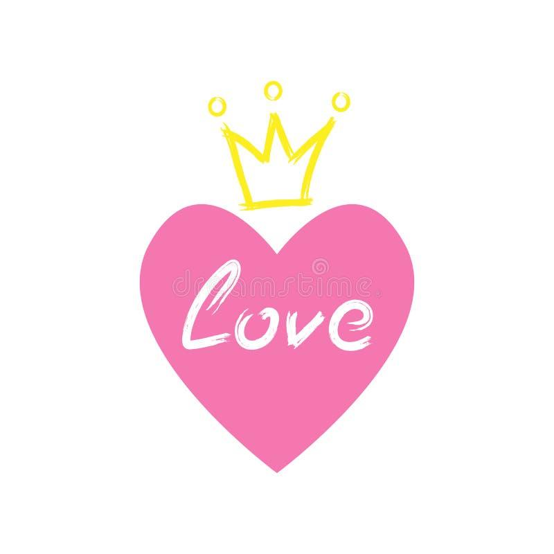 Cuore con la corona ed il testo di amore estratti a mano con la spazzola dell'acquerello Schizzo, lerciume, pittura illustrazione di stock