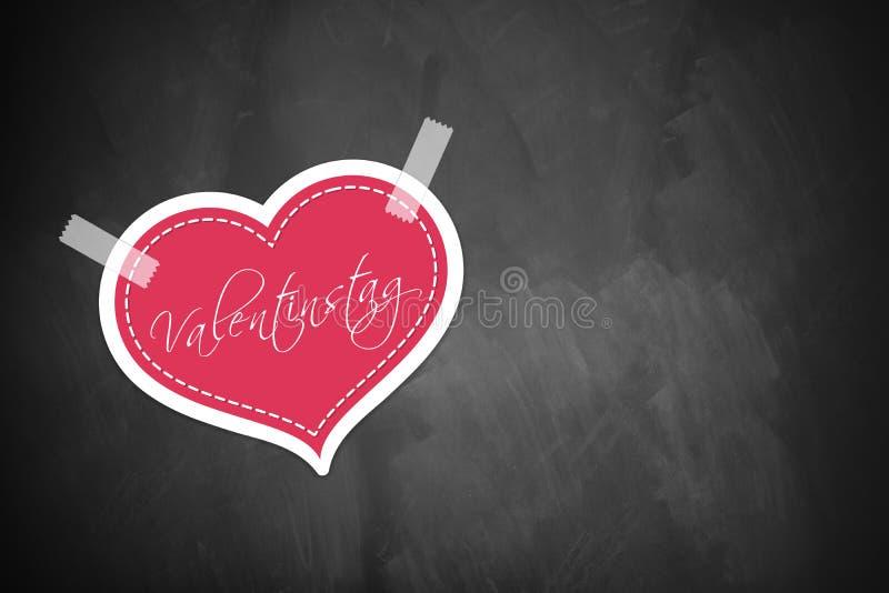 """Cuore con la parola """"giorno di biglietti di S. Valentino """"in tedesco immagine stock libera da diritti"""