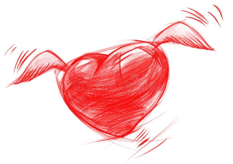 Cuore con le ali, disegno di volo di schizzo illustrazione vettoriale