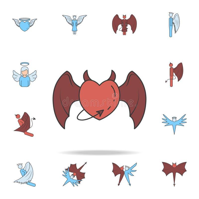 cuore con le ali e l'icona del profilo del color field della coda Insieme dettagliato delle icone del demone e di angelo Progetta royalty illustrazione gratis