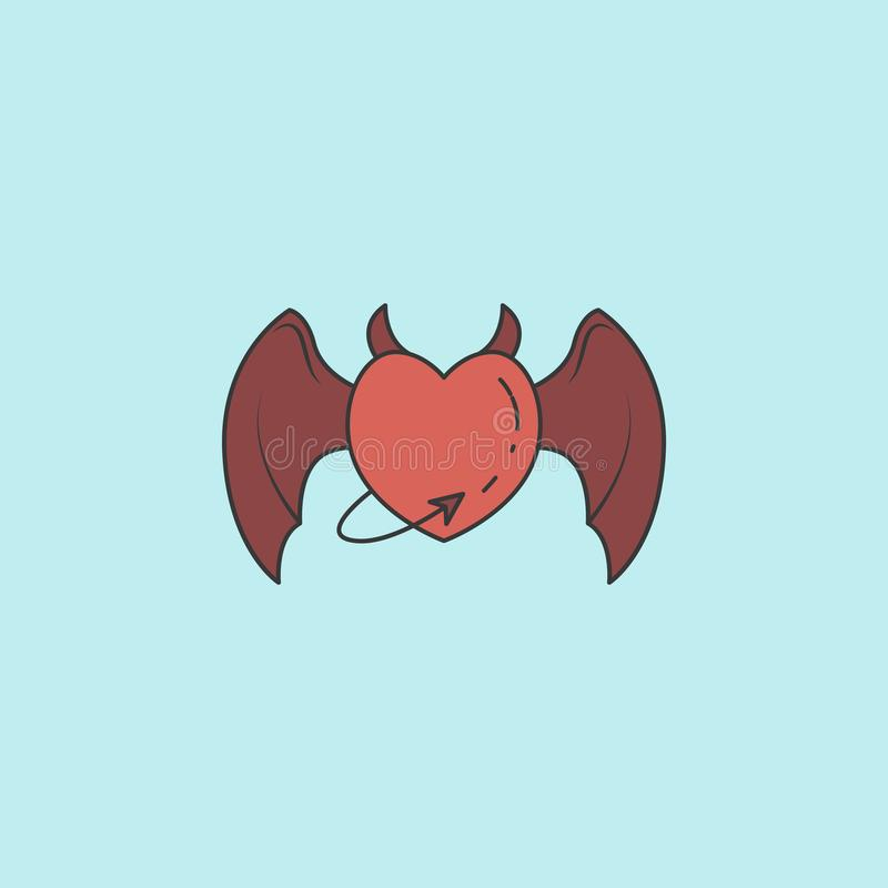 cuore con le ali e l'icona della coda Elemento dell'angelo e dell'icona del demone per i apps mobili di web e di concetto Cuore r illustrazione di stock