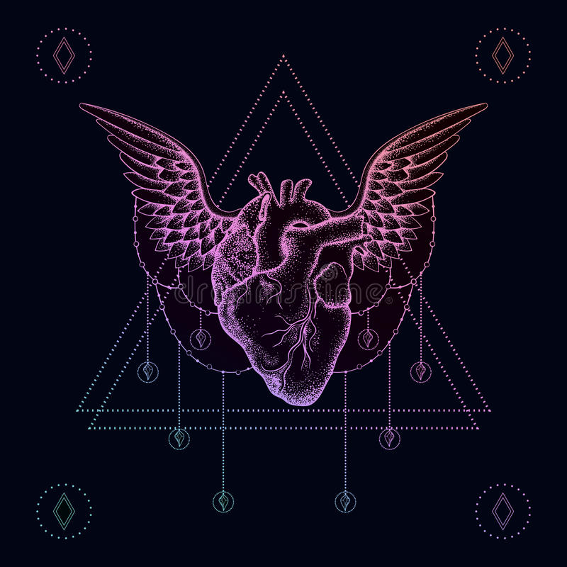Cuore con le ali, tatuaggio del dotwork di colore di boho Ill della Boemia di vettore illustrazione vettoriale