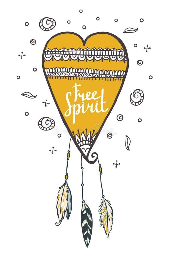 Cuore con le piume Carta dello spirito libero illustrazione vettoriale