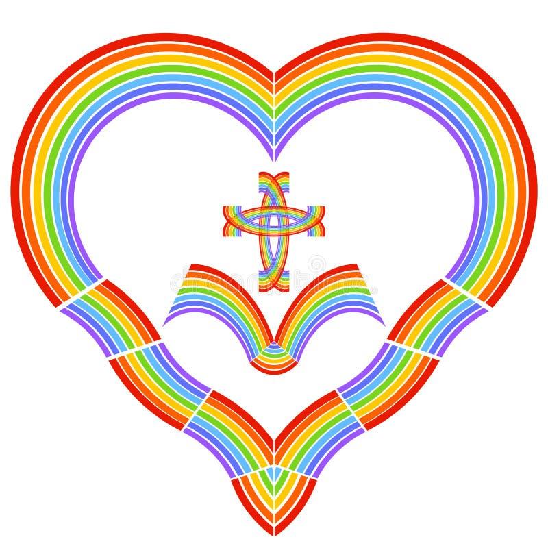Cuore con un incrocio e un libro aperto, colori dell'arcobaleno immagini stock libere da diritti