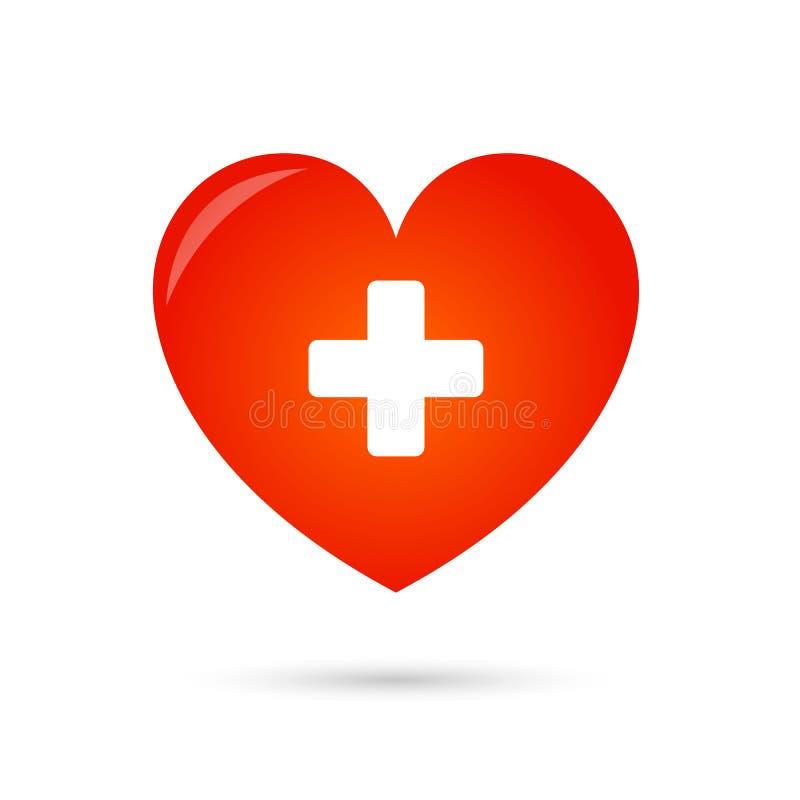 Cuore con un incrocio isolato su fondo bianco Sanità, icona medica di simbolo illustrazione di stock