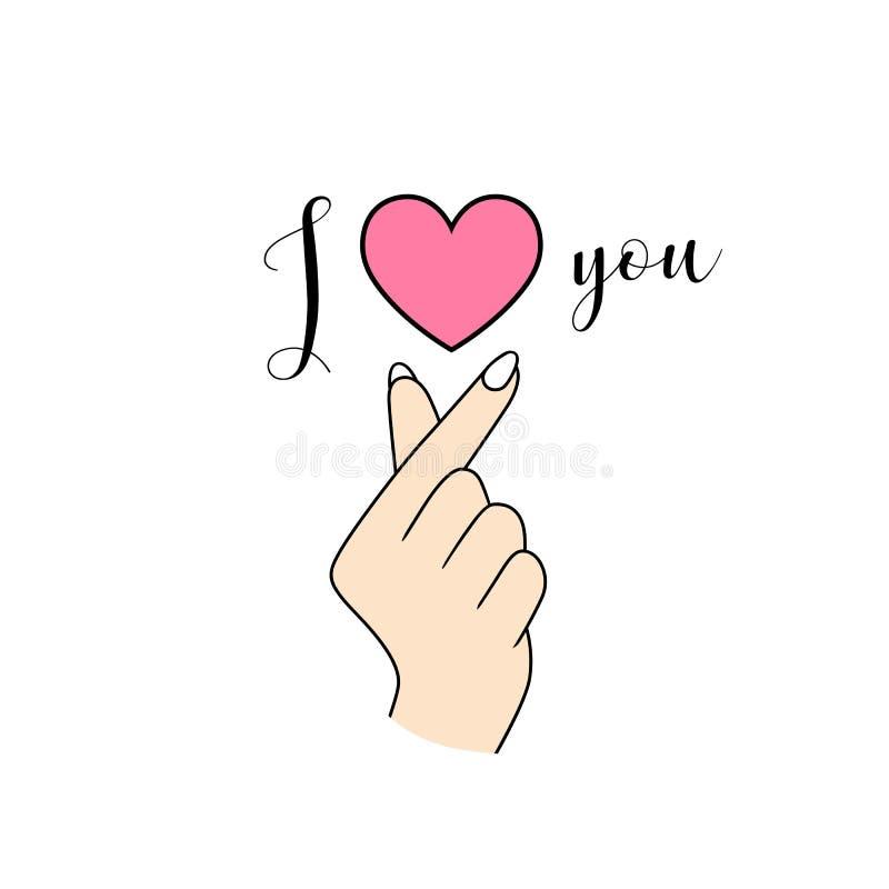 """Cuore coreano della mano di simbolo di vettore """"ti amo """"isolato su bianco illustrazione di stock"""